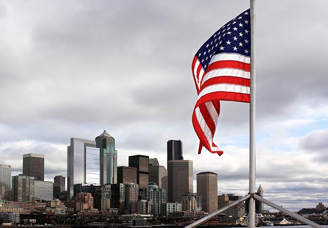 United States flag flying in Seattle WA