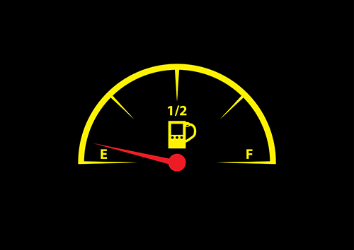 Fuel gauge almost empty, representing the minimum requirements of industry best practices