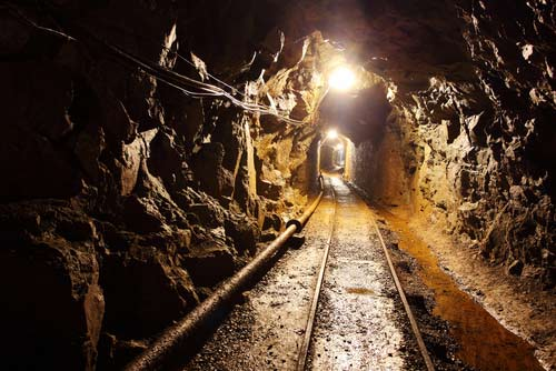 Mining operation with lights.
